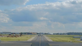 Berlin, Germany - September 22, 2017: Berlin Schönefeld Airport runway. Flughafen Schonefeld is the secondary international airport of Berlin, located in the southern boundary of the city
