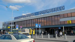 Berlin, Germany - September 22, 2017: Berlin Schönefeld Airport signage. Flughafen Schonefeld is the secondary international airport of Berlin, located in the southern boundary of the city