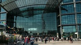 Berlin, Germany - September 27, 2017: Crowd outside Berlin Hauptbahnhof, main railway station in capital