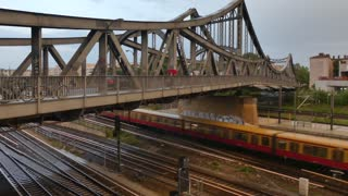 Berlin, Germany - September 5, 2018: S-bahn in Berlin. The Berlin S-Bahn is a rapid transit railway system in and around Berlin, the capital city of Germany