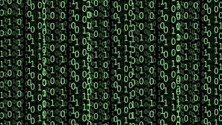 Digitally generated image: green numbers as code rain on a black background