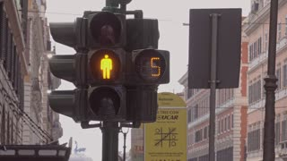 Electric countdown timer and traffic light turning green