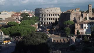 Panoramic view over Ancient Rome with the Roman wonder Coliseum, Colosseum or Colosseo