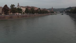 Time lapse video video of the Adige river in Verona, northeast Italy