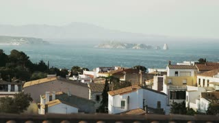 Beautiful Catalunya scenary. White houses, sea and islands in perspective