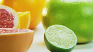Citrus Fruits. Camera Moving From Right to Left