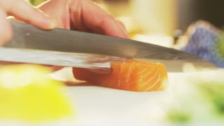 Cutting Salmon Into Slices