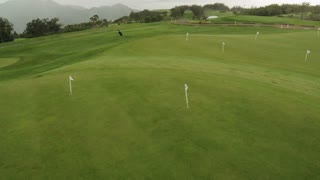 Moving Along the Golf Course. Aerial Shot from Madeira