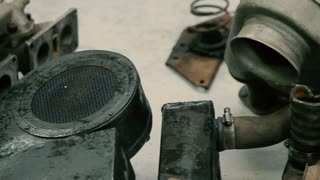 Parts of a Classic Car. Car Ready to Restore