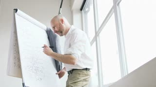 Bald Mathematician Thinks Deeply and Writes on a Board