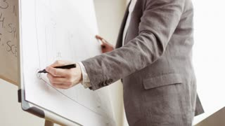 Businessman Drawing a Long Line on a Board
