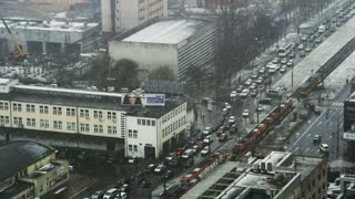 Cars and Trams Stuck in a Traffic Jam