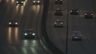 Cars Moving Slowly Through a Bridge. Traffic Jam