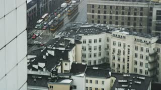 Cars, Trams and Buses Stuck in a Traffic Jam