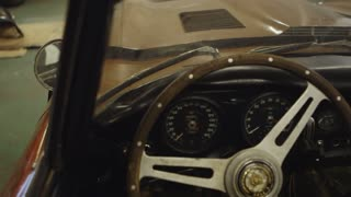 Dashboard of the Classic Jaguar E-type Car. Car Ready to Restore