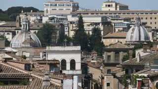 Domes of Italian Churches. Long Shot. Rippling Air
