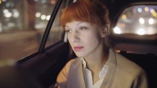 Thoughtul Businesswoman Feeling Sleepy in the Car
