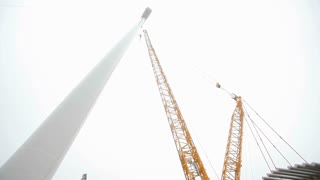 Wind Turbine Tower. Camera Moving Up and Down