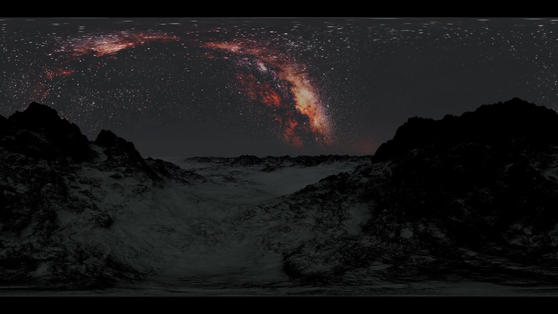 6K Milky Way stars at sunrise in mountains virtual reality 360 degree video. Elements of this image furnished by NASA