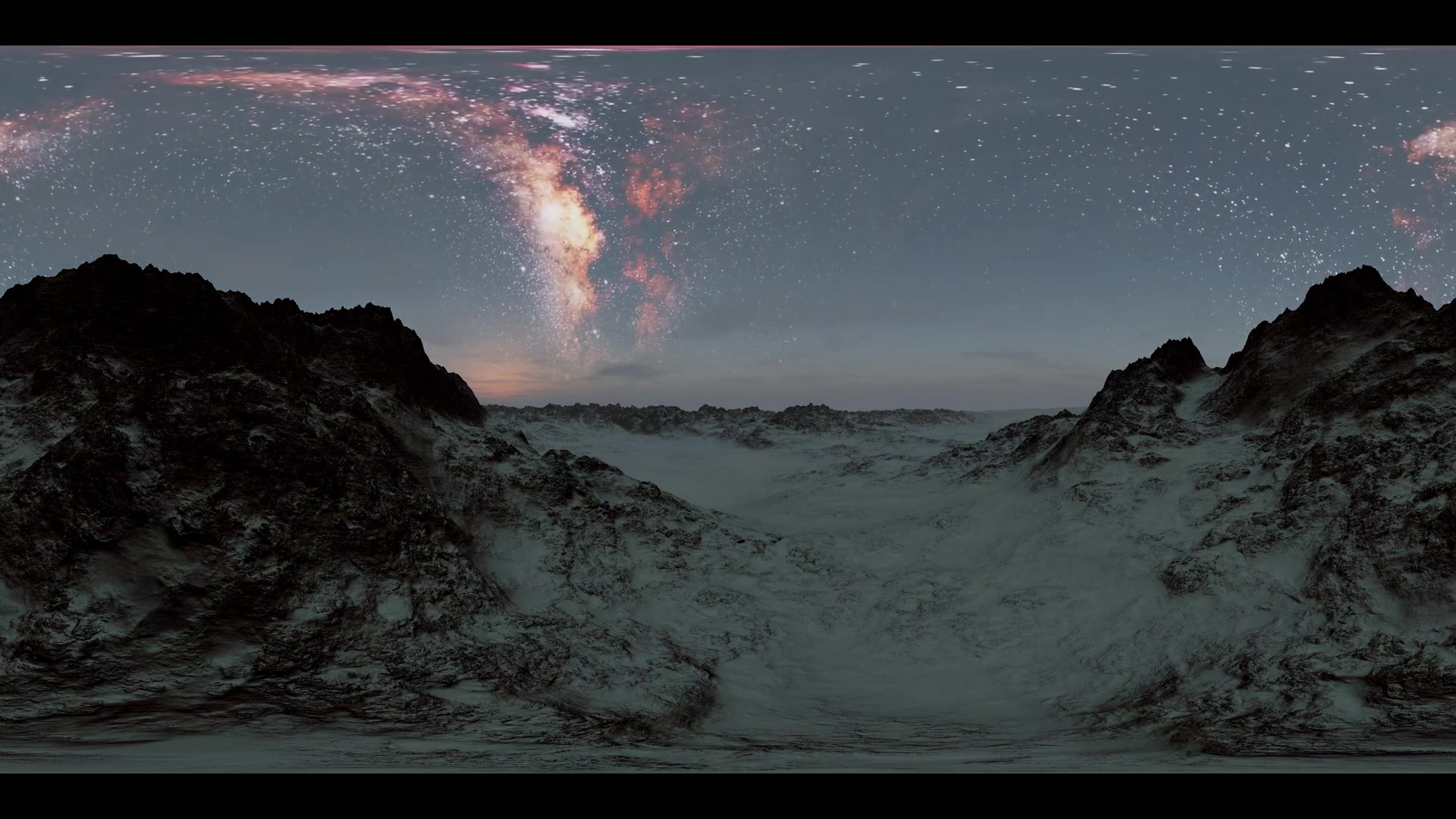 6K Milky Way stars at sunset in mountains virtual reality 360 degree video. Elements of this image furnished by NASA