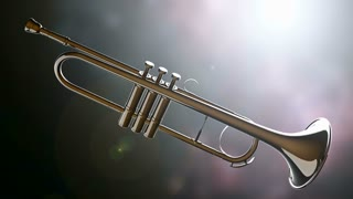 brass trumpet on bokeh background with light