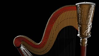 classical wooden harp with gold. PNG plus Alpha channel