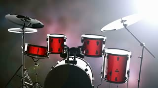 drum set on bokeh background with light