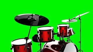 drum set on green chromakey