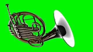 french horn rotate on green chromakey