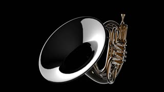french horn rotate. PNG plus Alpha channel