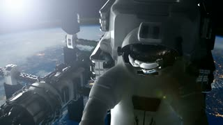 ISS. Astronaut and International Space Station Orbiting Earth. Elements of this image furnished by NASA