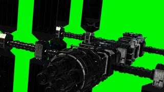 ISS. International Space Station Orbiting Earth on green chromakey