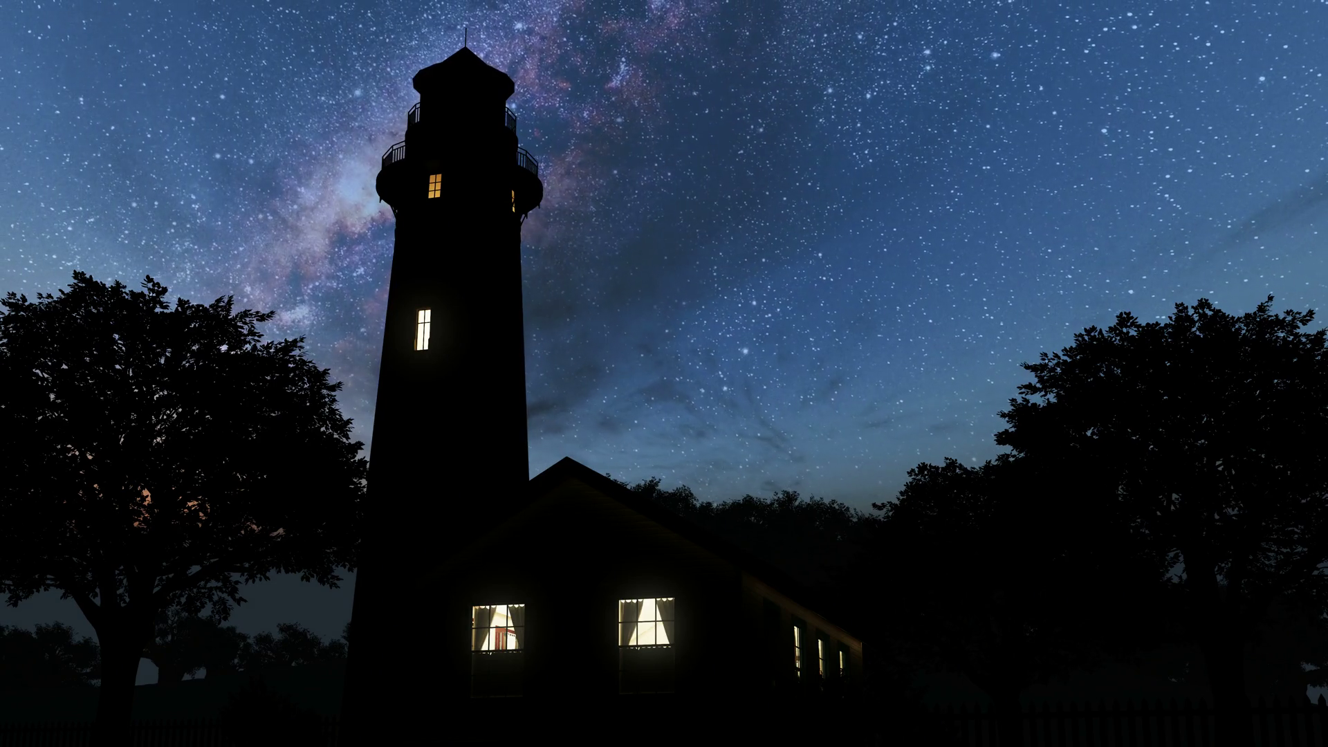 lighthouse and Milky Way stars at night. Elements of this ...