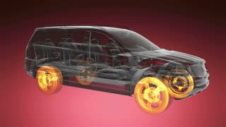 loop car rotate. visible engine and gear transmission. wheels with glow