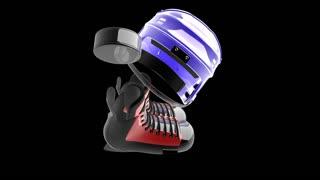 loop rotate hockey puck and hockey equipmentwith alpha