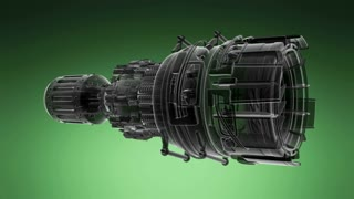 loop rotate jet engine turbine of plane, aircraft concept, aviation and aerospace industry