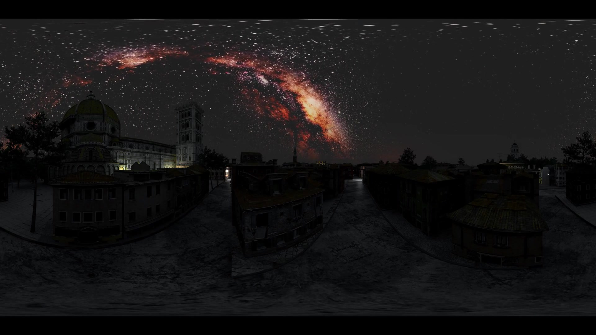 Milky Way stars at sunrise virtual reality 360 degree video. Elements of this image furnished by NASA