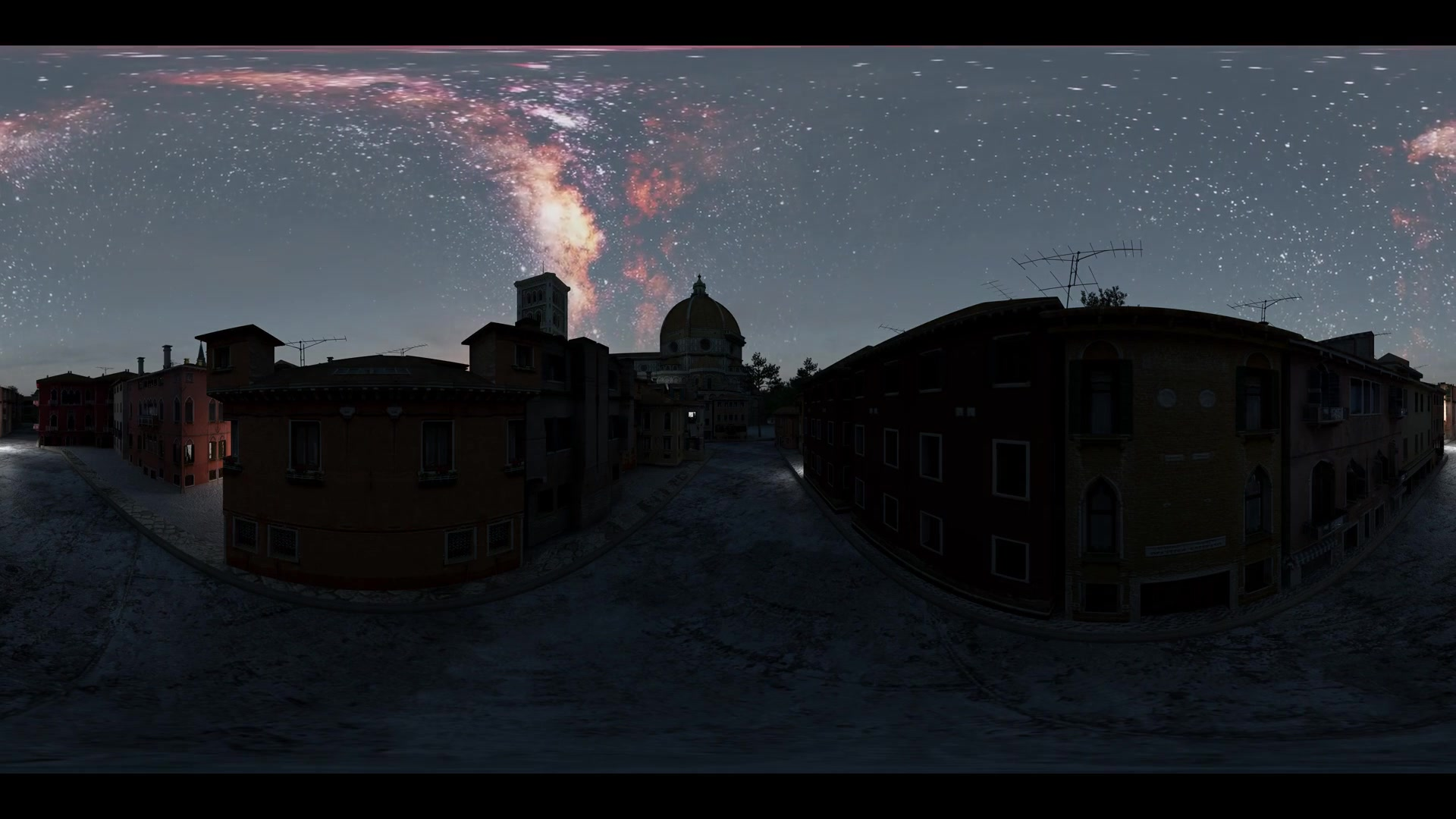 Milky Way stars at sunset virtual reality 360 degree video. Elements of this image furnished by NASA