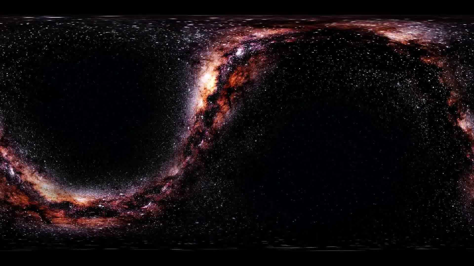 Milky Way stars in space virtual reality 360 degree video. Elements of this image furnished by NASA