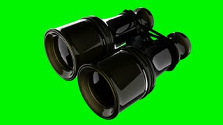 Old military binoculars on green chromakey
