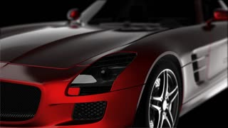 red luxury sport car in the dark