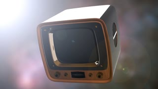 retro tv on bokeh background with light