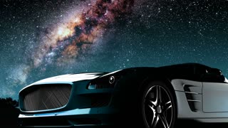 sport car and Milky Way stars at night. Elements of this image furnished by NASA