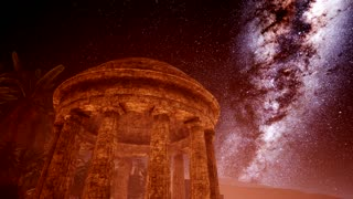 4K Ancient Roman time town in desert and Milky Way stars.