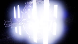 4K Animation of a futuristic spaceship flying in space