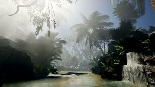 4K Floating down a river in a beautiful tropical forest