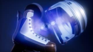 4K Super slow motion flying hockey puck and hockey equipment