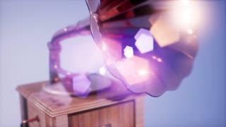 4K Super slow motion Vintage Gramophone rotate