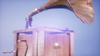 4K Super slow motion Vintage Gramophone rotate