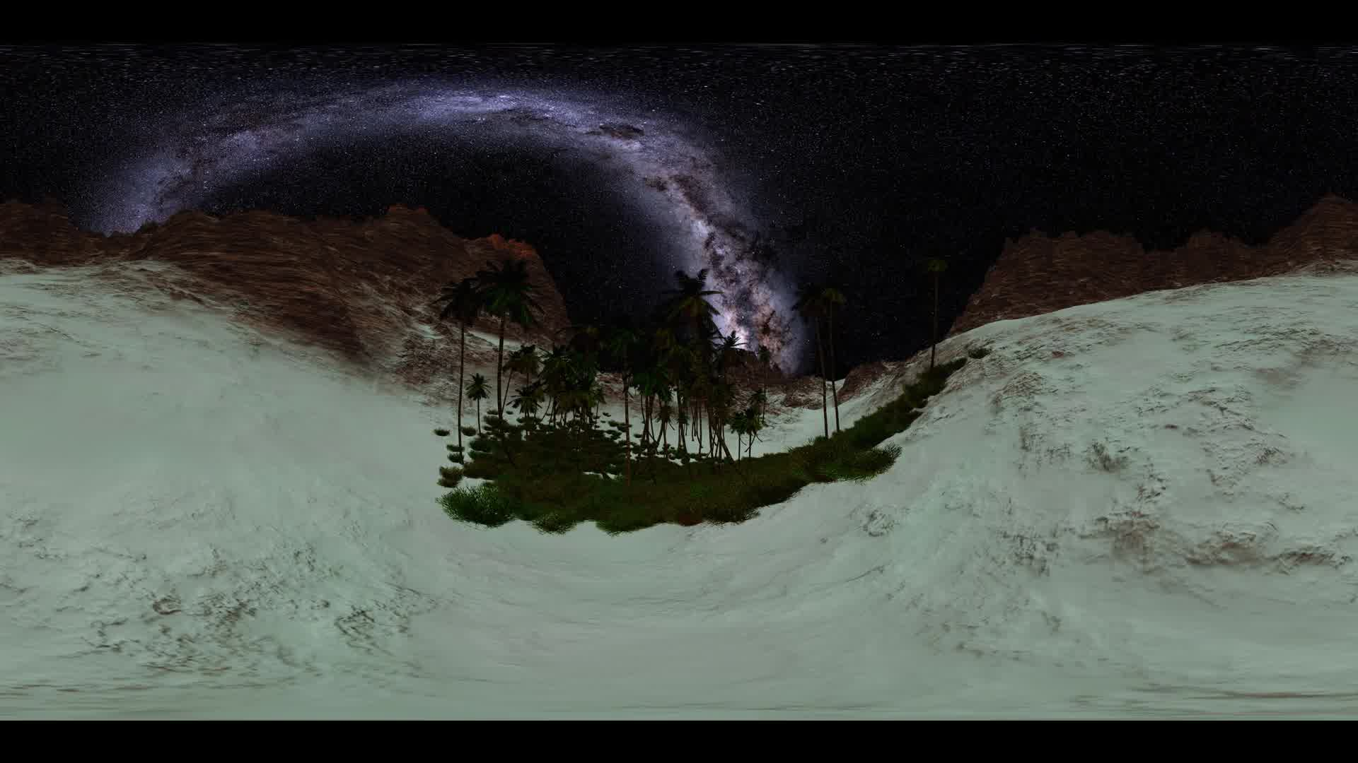 6K vr 360 Milky Way stars timelapse at sunset in sand mountains and pams oasis. virtual reality 360 degree video. vr360